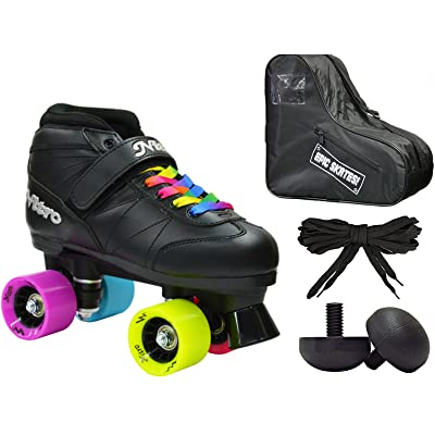 New! Epic Super Nitro Rainbow Indoor / Outdoor Quad Roller Speed Skate 4 Pc. Bundle w/ Bag & Jam Plugs (Youth 1) : Sports & Outdoors