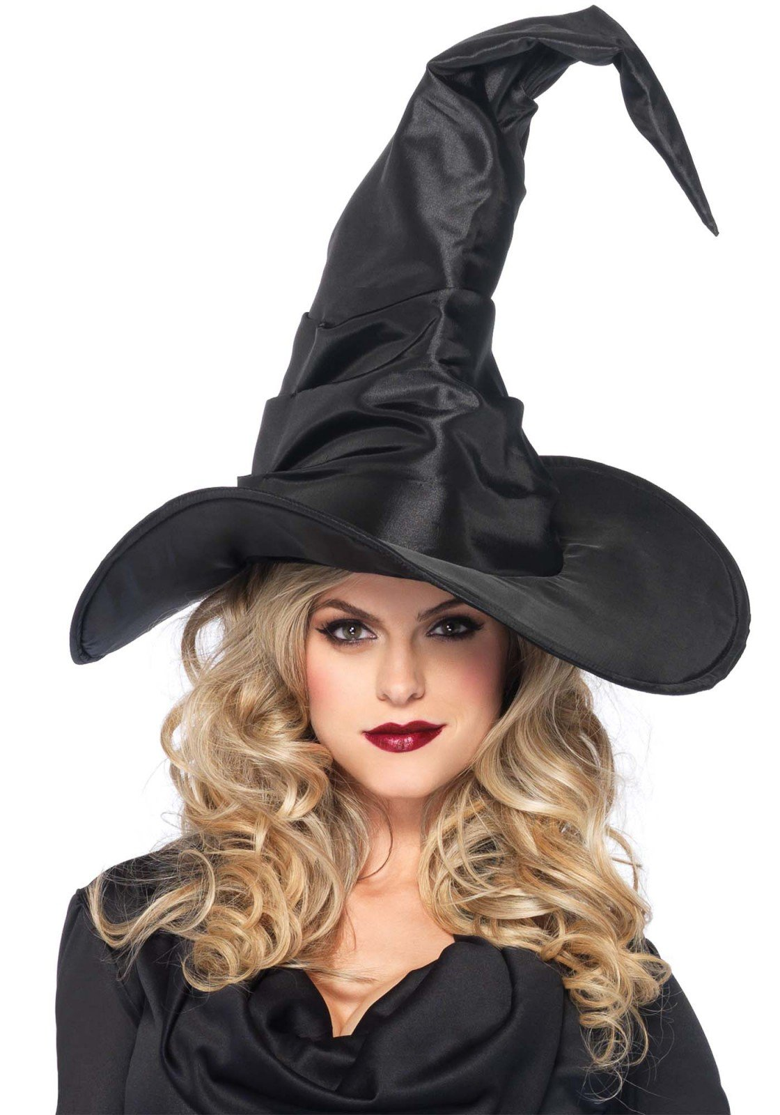 Leg Avenue Women's Large Ruched Witch Hat, Black, One Size