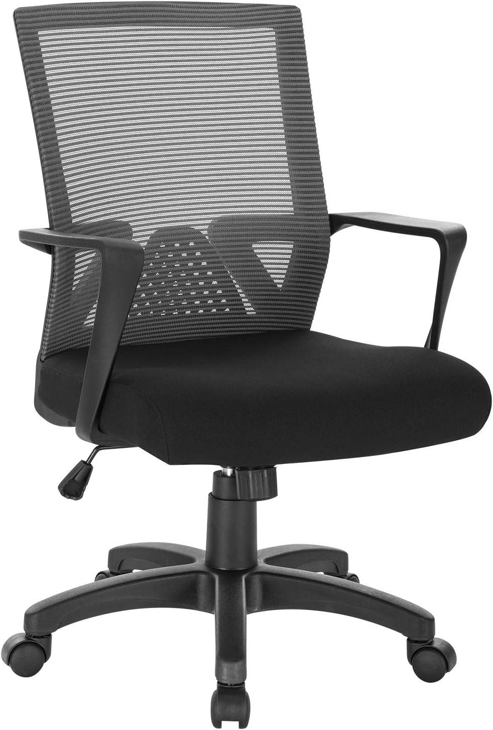 WOLTU BS88sz Chaise de Bureau Chaise dordinateur pivotante,Chaise PC avec accoudoir rev/êtement en Maille Structure en m/étal et Nylon,Noir