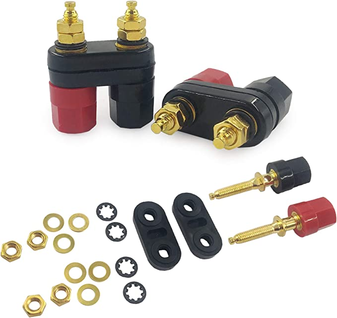 Pack of 20 Panel Mount Binding Post CL2160B TP Series Gold Plated Contacts 30 A Black CL2160B