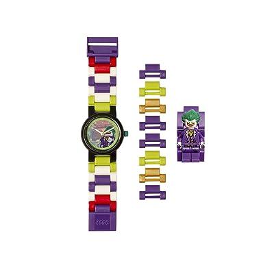 Lego Batman 8020851 The Joker Kids Minifigure Link Buildable Watch | Purple/Green | Plastic | 27.5mm case Diameter| Analog Quartz | boy Girl | Official: Clictime: Watches