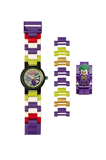 315b449aa71 Lego Batman 8020851 The Joker Kids Minifigure Link Buildable Watch |  Purple/Green | Plastic