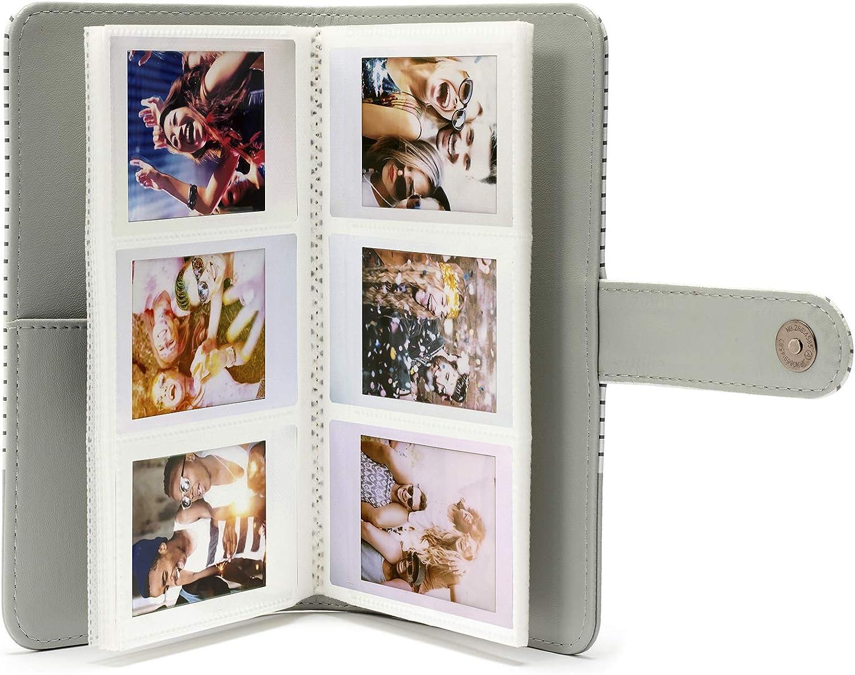 f/ür Mini Fotos gestreift Instax Mini-Fotoalbum Smokey Wei/ß