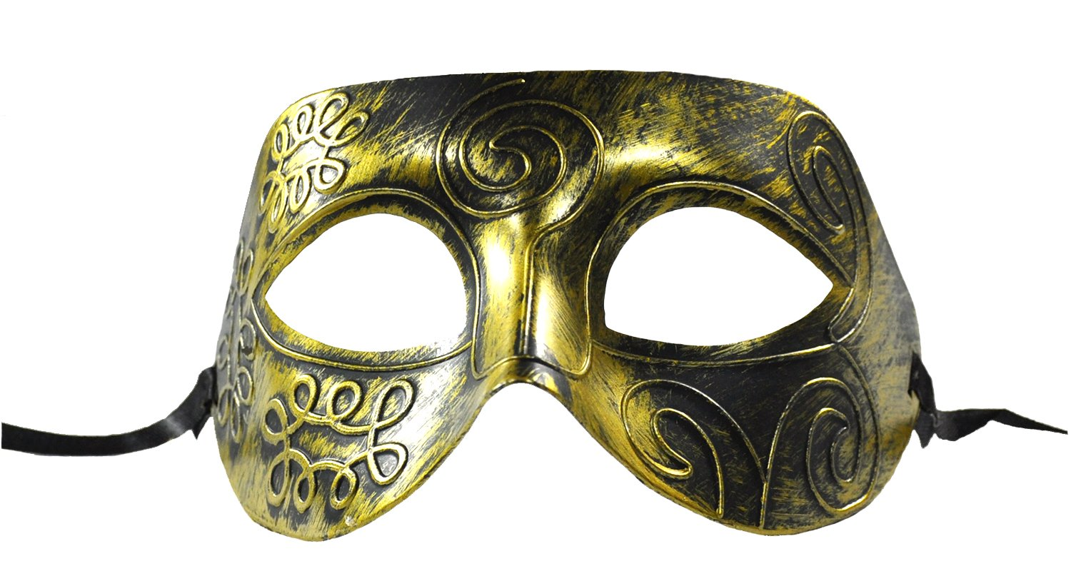 1Bay Men's Rustic Swirl Masquerade Mask With Body Jewelry Tattoos O/S Gold