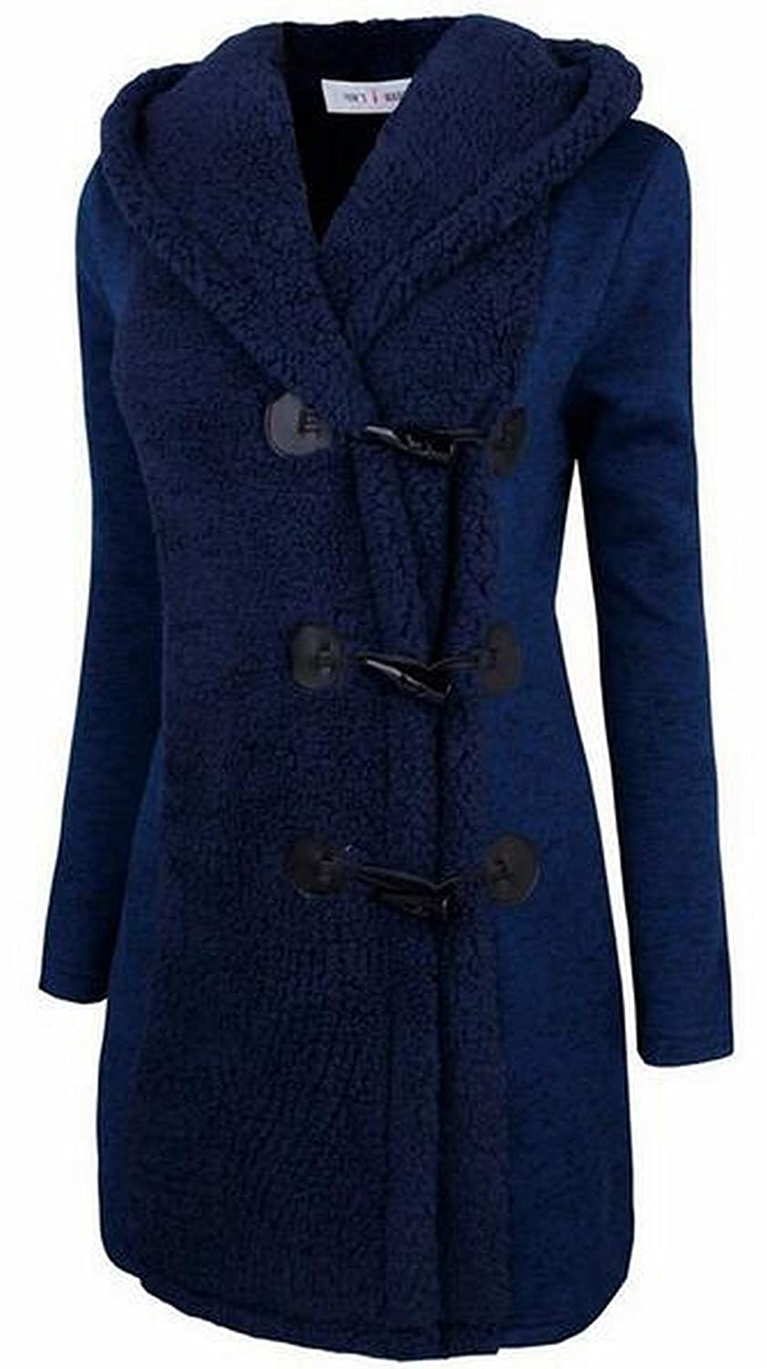 Domple Womens Fashion Winter Horn Button Hooded Mid Length Woolen Coat Blue XL
