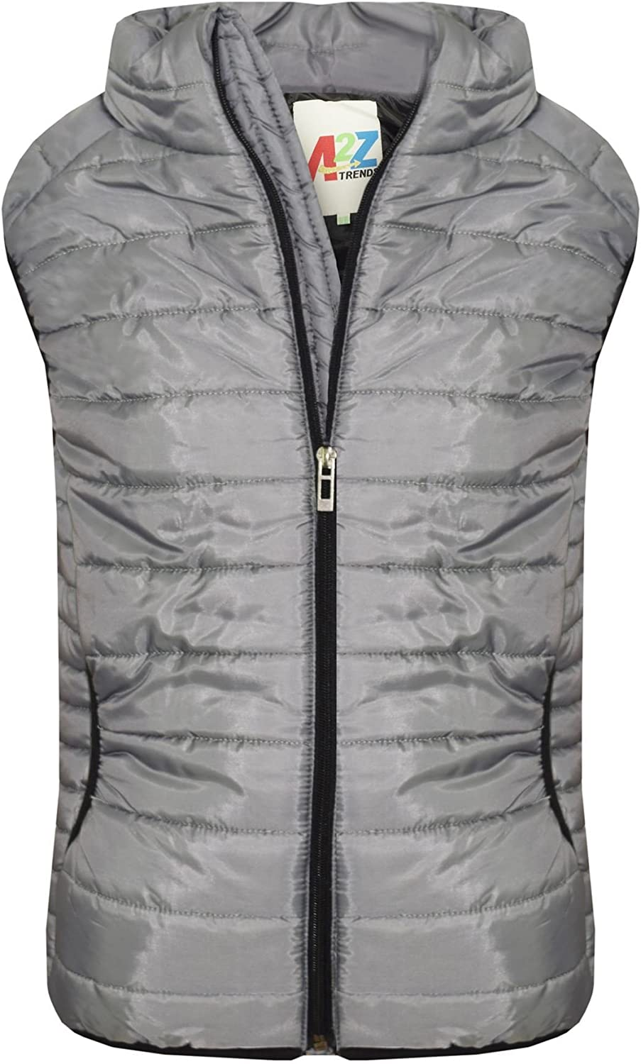 A2Z/® Kids Girls Boys Steel Grey Sleeveless High Neck Padded Gilet Bodywarmer Jackets
