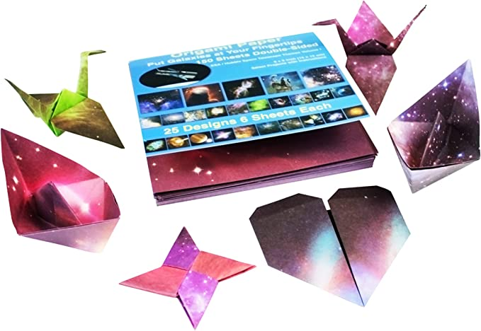 Double Sided Beautiful Galaxy Outer Space Craft Folding Paper with 1 Roll Transparent Jewelry Wire for Beginners Trainning and School Craft Lessons 100 Sheets Origami Paper 6x6 inch
