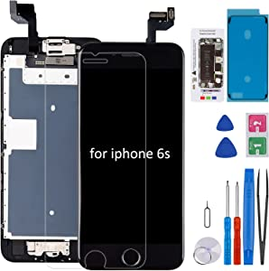 for iPhone 6S Screen Replacement with Home Button CLNGAI Full Assembly 3D Touch LCD Display Frame Complete Digitizer Pre-Assembled Front Camera Proximity Sensor Earpiece, ALL Repair Tool 4.7inch Black