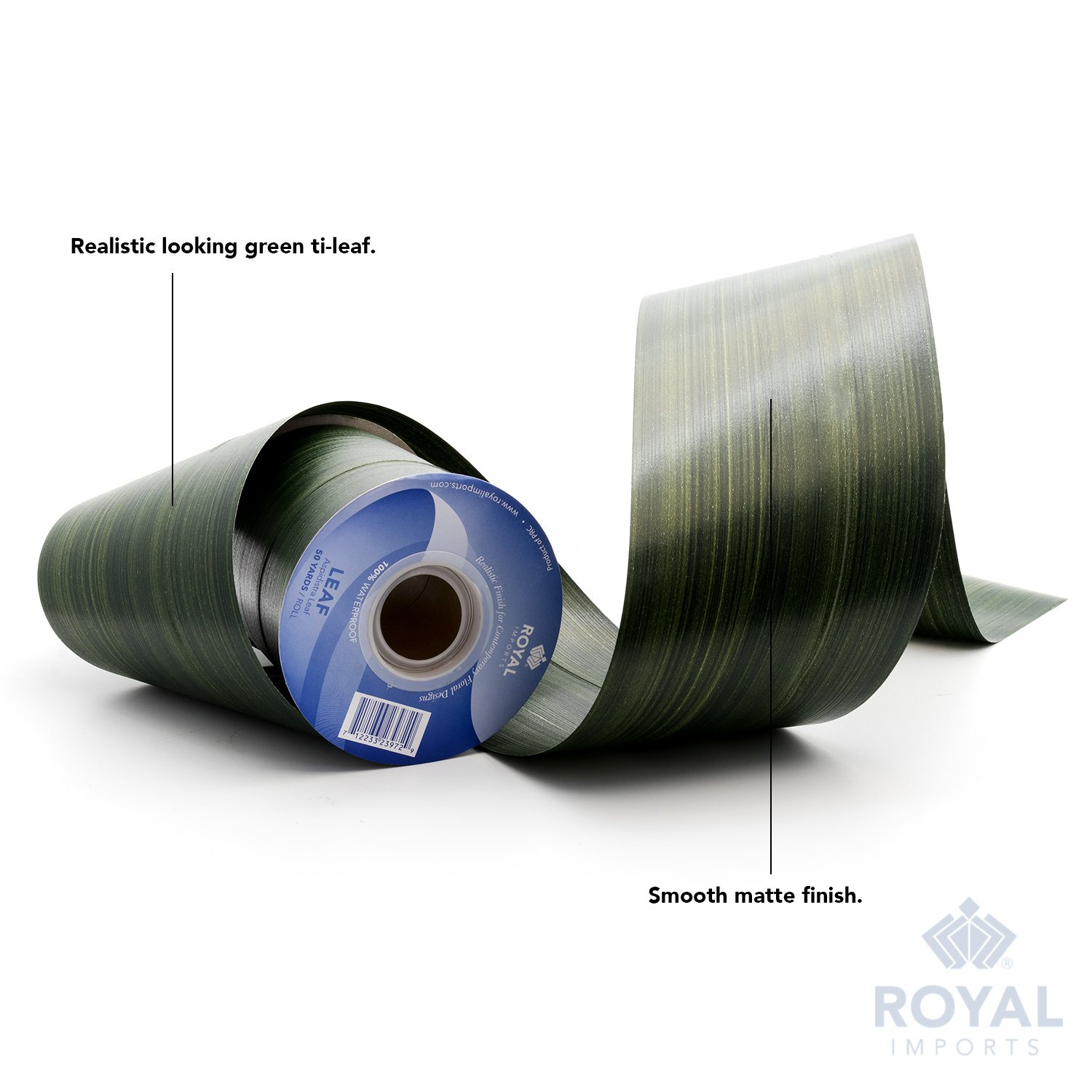 Green Aspidistra Ti Leaf Pattern Poly Satin Waterproof Ribbon 4'' (#100) Floral & Craft Decoration, 50 Yard Roll (150 FT Spool) Bulk, by Royal Imports by Royal Imports (Image #4)