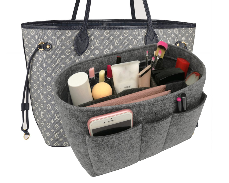 Felt Insert Fabric Purse Organizer Bag, Bag Insert In Bag with Zipper Inner Pocket Gray XL