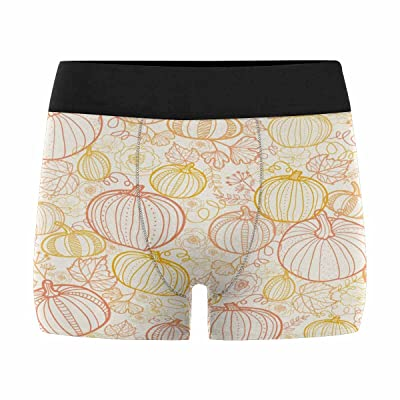 InterestPrint Boxer Briefs Men's Underwear Thanksgiving Line Art Pumkins (XS-3XL)