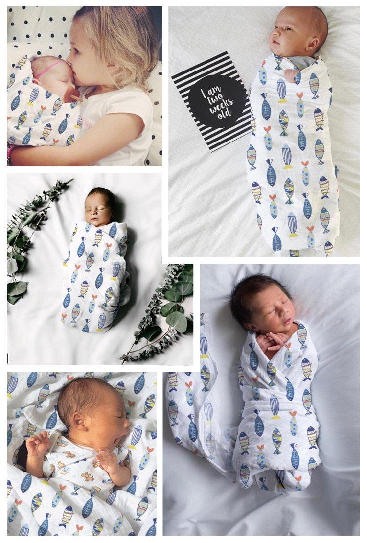 2/pcs Mousseline de naissance Swaddle couvertures pour b/éb/é Swaddle Wraps pour b/éb/é Douche Cadeau 100/% coton Unisexe Grand format 120/x 120/cm Flora et poisson dimpression