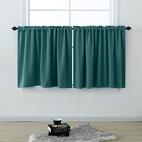 KOUFALL Green Curtains 36 Inches Long for Bathroom Set 2 Panels Rod Pocket Cafe Tier Blackout Drapes Short Room Darkening Spring Curtains for Kitchen Small Windows 52 x 36In Length