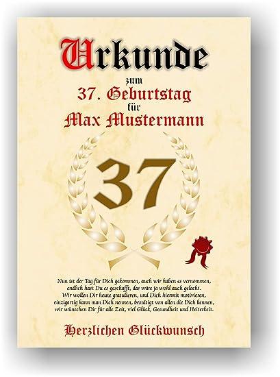 Urkunde Zum 37 Geburtstag Glückwunsch Geschenkurkunde