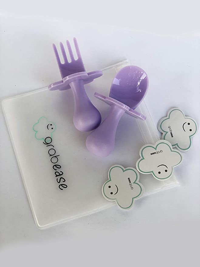 Grabease First Self Feeding Utensil Set of Pouch, Spoon and Fork for Toddler