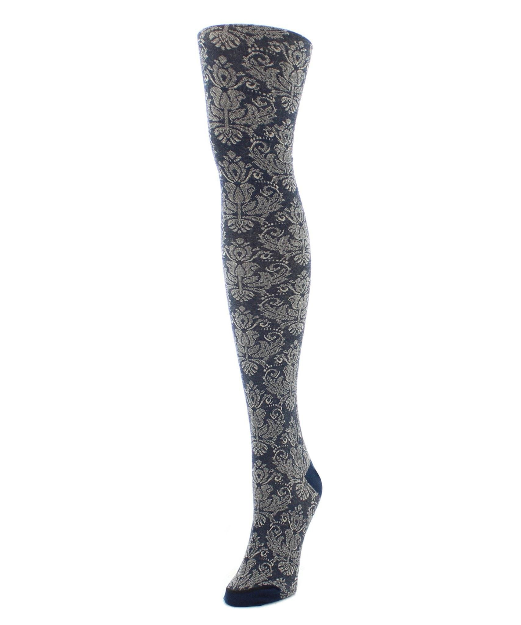 MeMoi Sweater Tights   Patterned Tights   Baroque Patterned Navy Blazer Large/Xtra Large