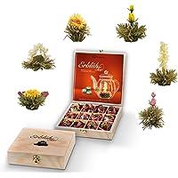 Creano thee bloemen geschenkstel in houten theekist, 12 bloeiende thee voorjaarsoogst in 6 soorten witte thee