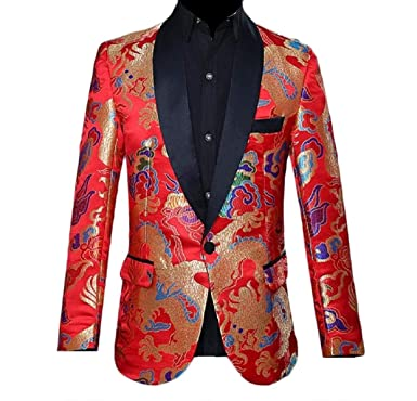 Abetteric Mens Chinese Style Shawl Lapel Wedding Embroidered Blazer Suit Red  XS 4ccb634e4
