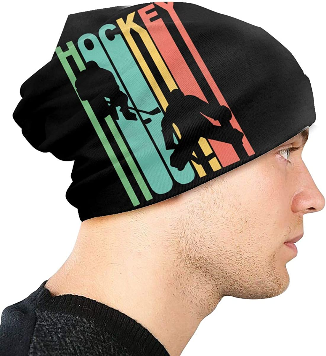Thin Stretchy /& Soft Winter Cap Vintage Retro 1970s Style Hockey Unisex Solid Color Beanie Hat