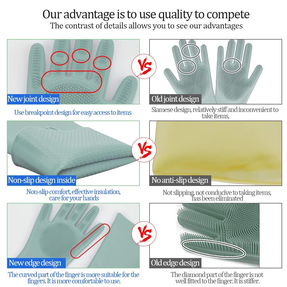 Yeahfits 4Pcs soft Silicone Dishwashing Brush Multi-purpose Non Stick Dish Brush Sponge Towel Scrubber For Kitchen Wash Pot Pan Bowl Yellow