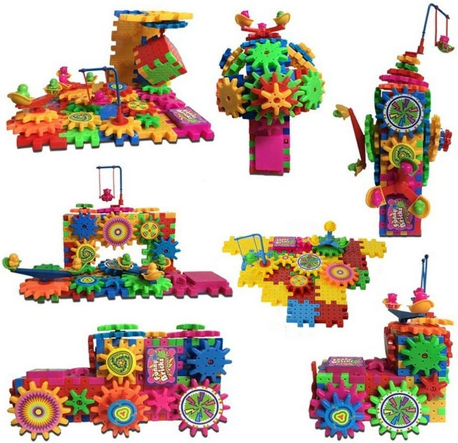 81Pcs Interlocking Building Blocks /& Gears Cogs Construction Puzzle Kids Toy