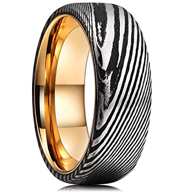 King Will Warriors 8mm Mens Damascus Steel Wedding Ring Gold Plated