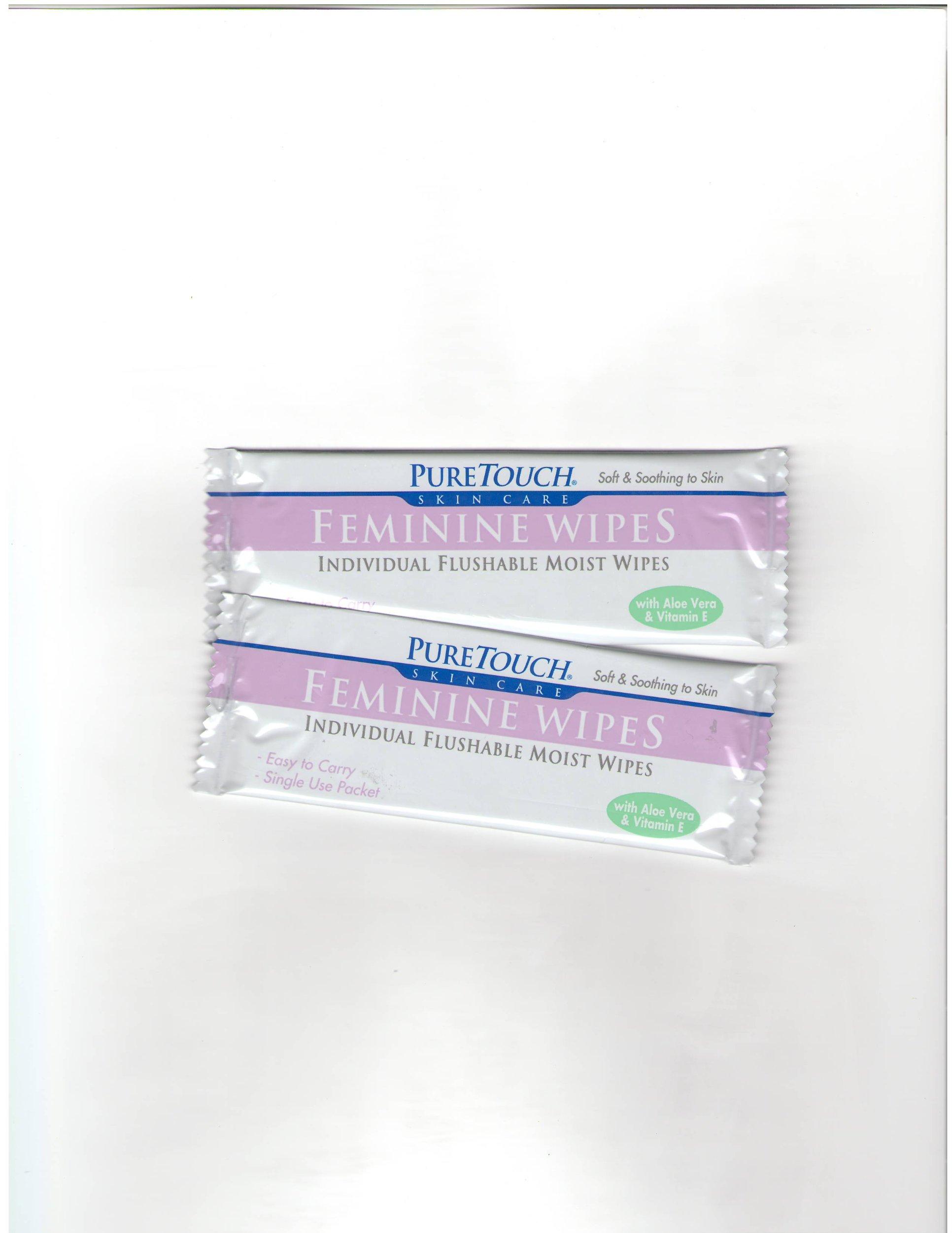 PureTouch Feminine Wipes Individual Flushable Moist Wipes BULK 350 Single-Use-Packets