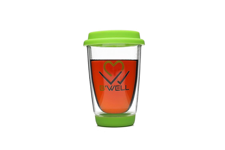 B'WELL 12 oz - Glass Travel Mug - Reusable Coffee Cup - To Go Coffee Mug - Silicone Lid & Base - Tea Travel Mug - Hot & Cold Drinks - Dishwasher & Microwave Safe - (Neon Green)