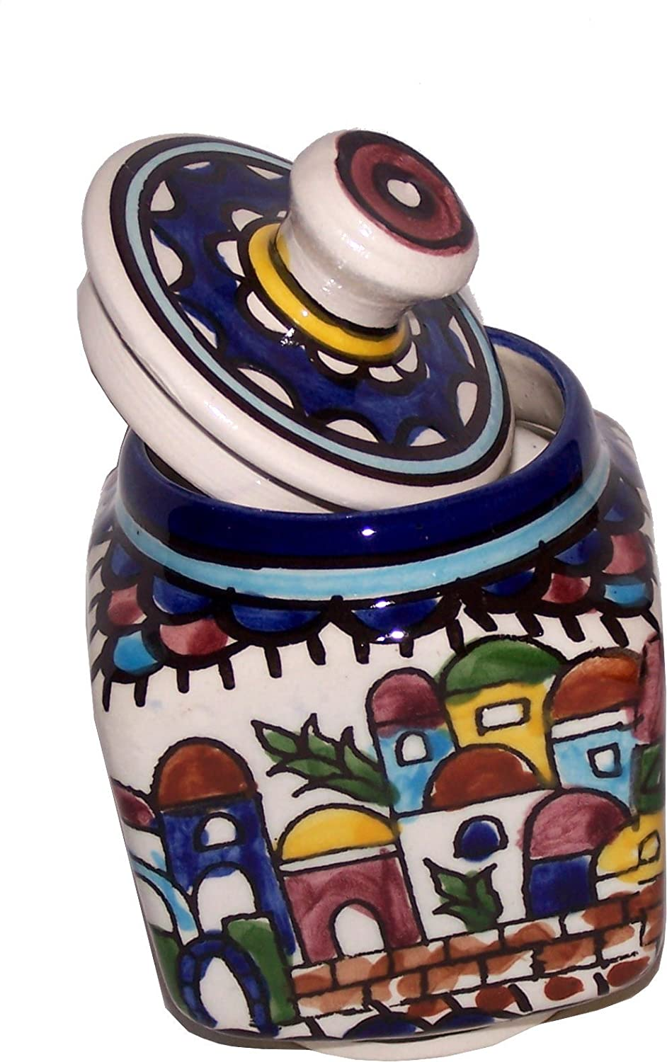 Jerusalem Sugar Pot - Square - Ceramic painted by hand (4 Inches) - Old City Panorama or view - Asfour Outlet Trademark Holy Land Market