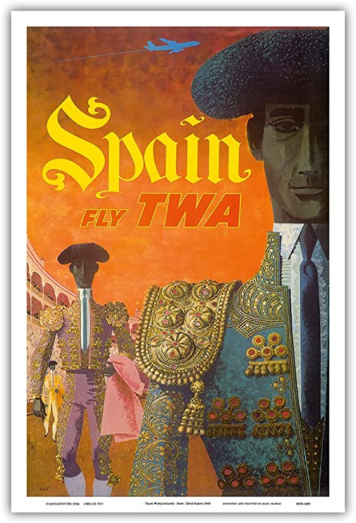Pacifica Island Art Trans World Airlines-España TWA de la Mosca-Matadores (matadores) por David Klein-Maestro Lámina-12inx18in: Amazon.es: Hogar