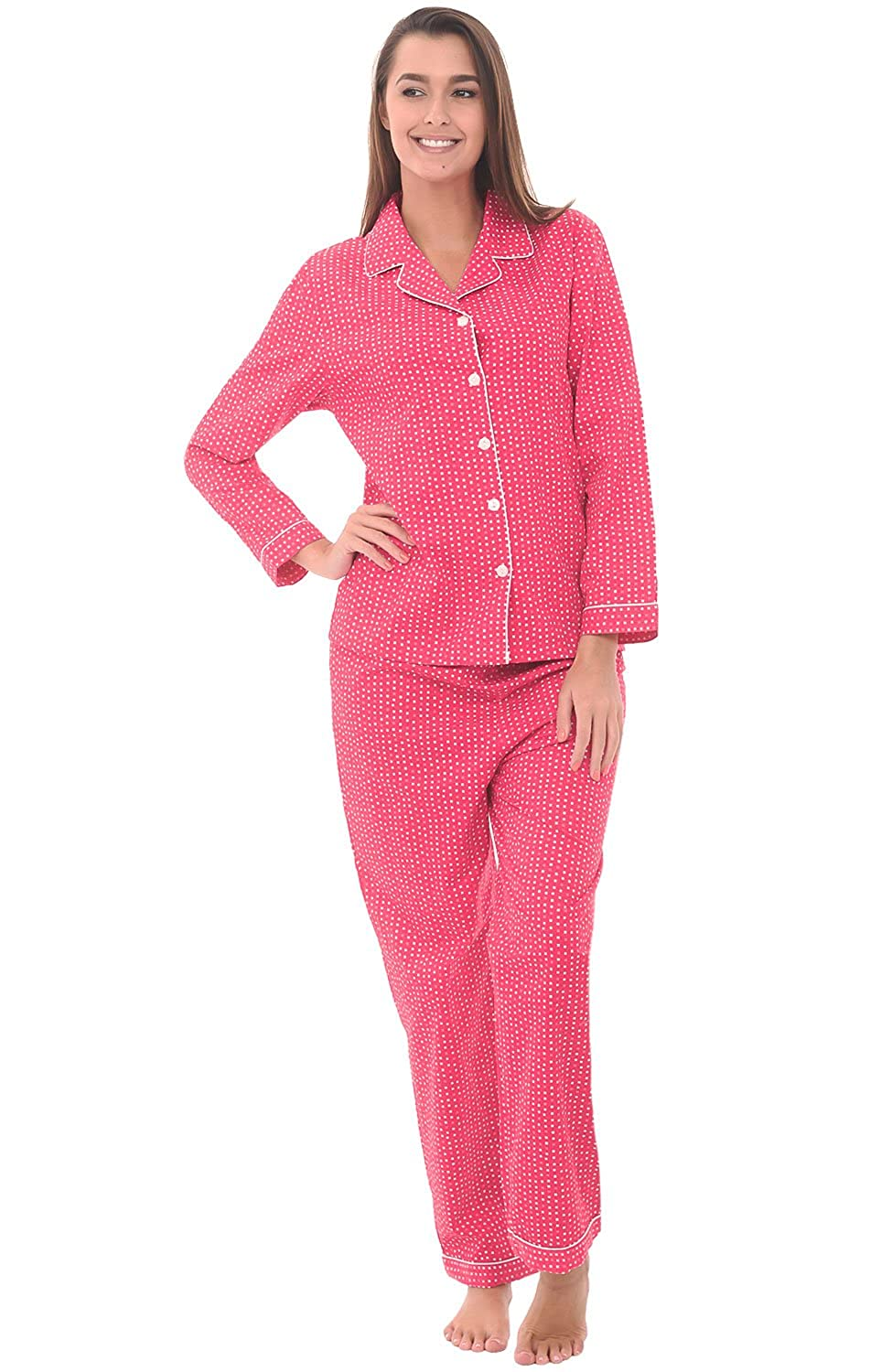 Alexander Del Rossa Woven Cotton Polka Dot Long Sleeved Pajama Set, 100% Cotton Pjs A0517-Dotted