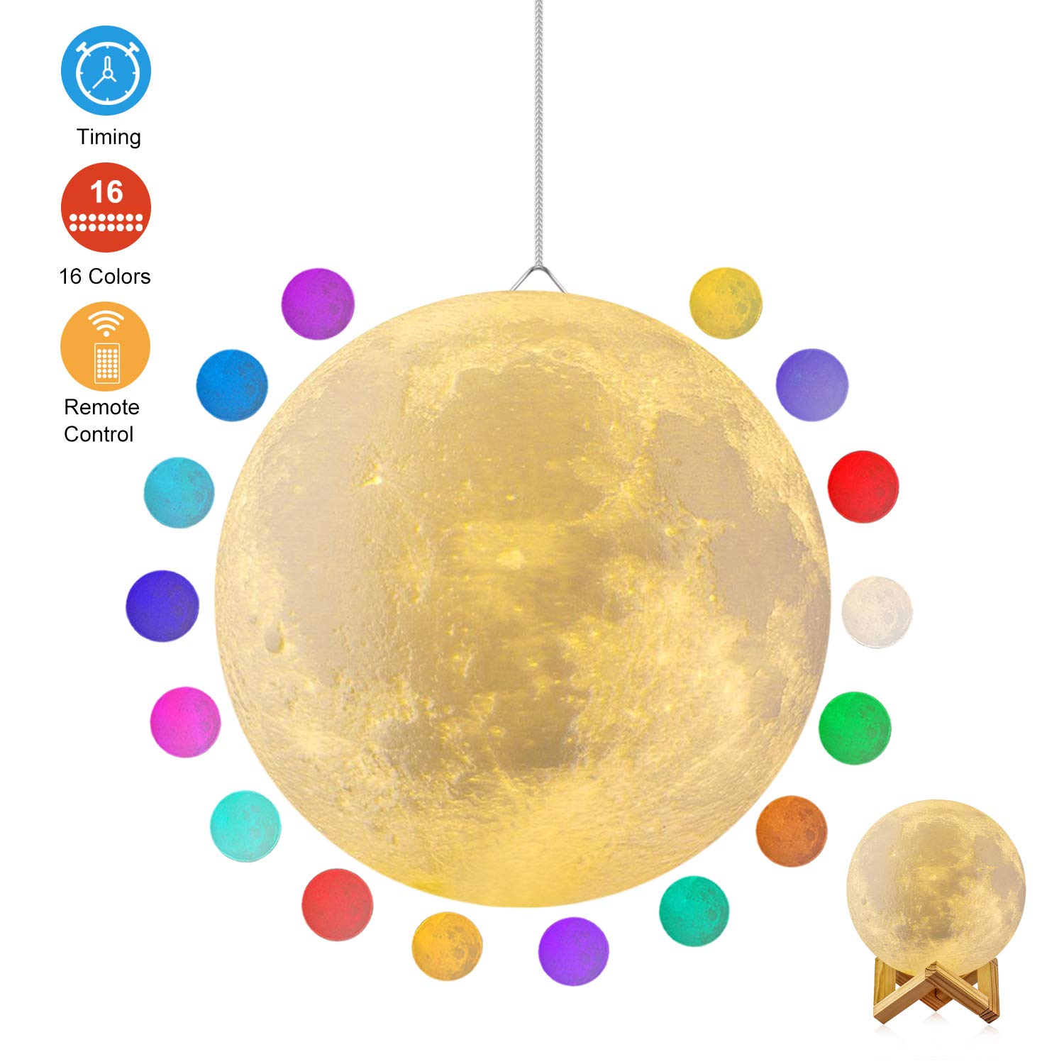 Moon Lamp, GDPETS 3D Printing 7.3 Inch 16 Colors Moon Night Light with Stand & Remote &Touch Control and USB Rechargeable Decorative Luna Lamp for Baby Kids Birthday Party Christmas Gifts (7.3 Inches)