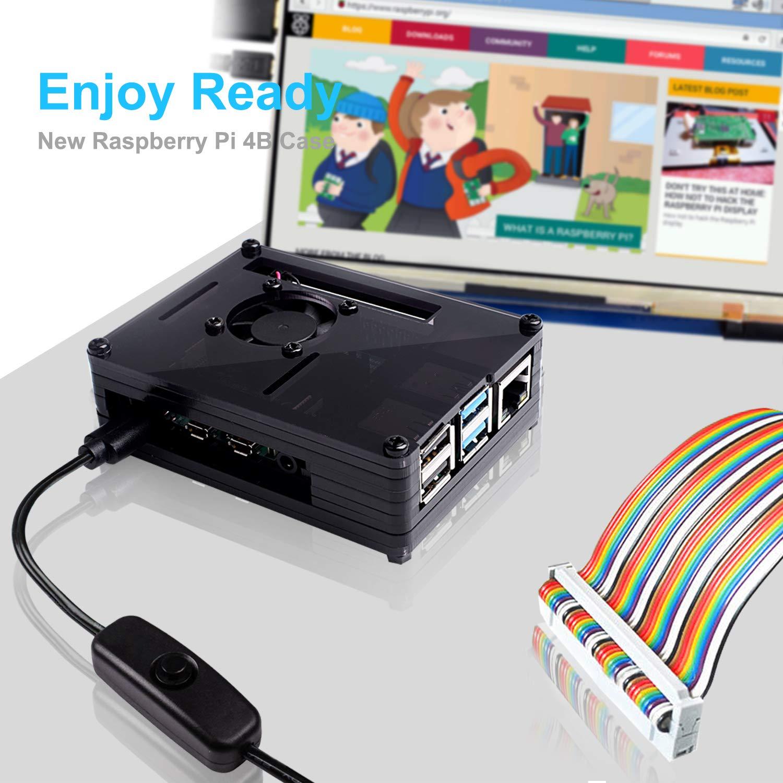 Bo/îtier avec Ventilateur,Dissipateurs 3 Pi/èces Pas De Carte Raspberry Pi Incluse Bruphny Boitier pour Raspberry Pi 4 Bloc dalimentation USB-C 5V 3A Compatible avec Raspberry Pi 4b//Mod/èle B//B+
