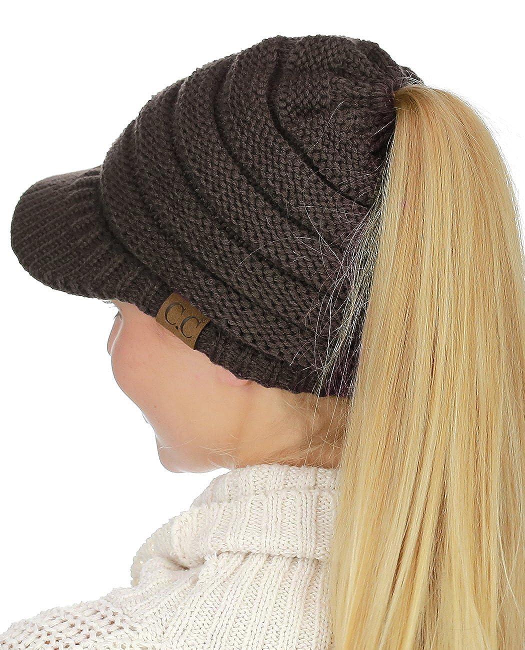 98f244252e4 C.C BeanieTail Warm Knit Messy High Bun Ponytail Visor Beanie Cap Beige  MB131-BG larger image