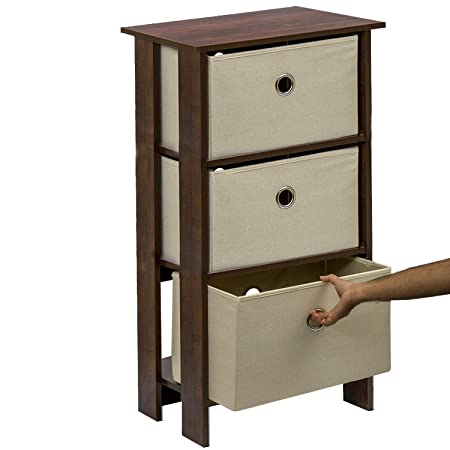 Klaxon Protea Wooden Table Storage Cabinet with 3 Fabric Drawer Chest - Walnut & Cream