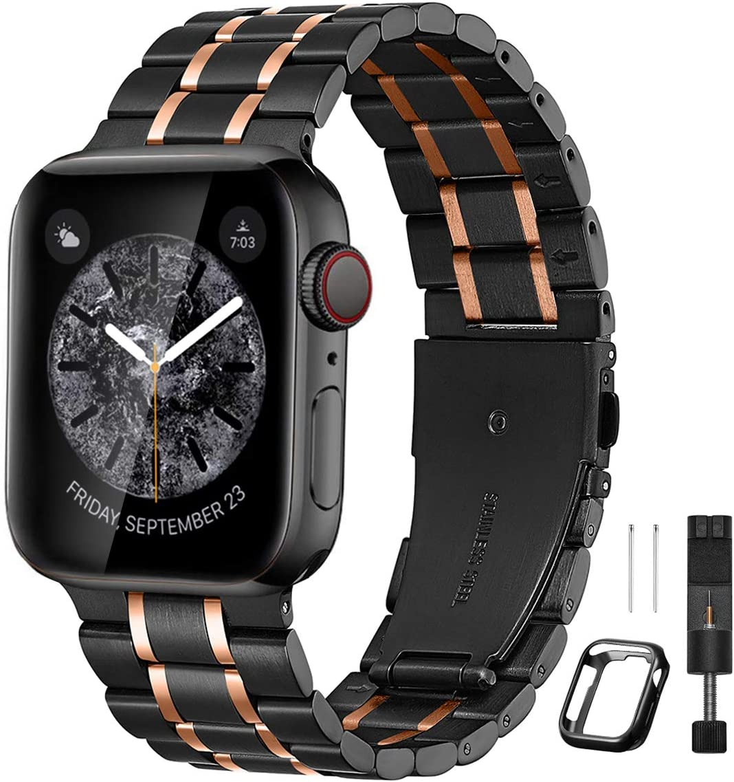 Bestig Compatible for Apple Watch Band 42mm 44mm Premium Solid Stainless Steel Metal Replacement Adjustable Sport Wristband Bracelet Strap for iWatch Series 6 SE 5 4 3 2 1 (Matte Black/Polished Rose Gold)