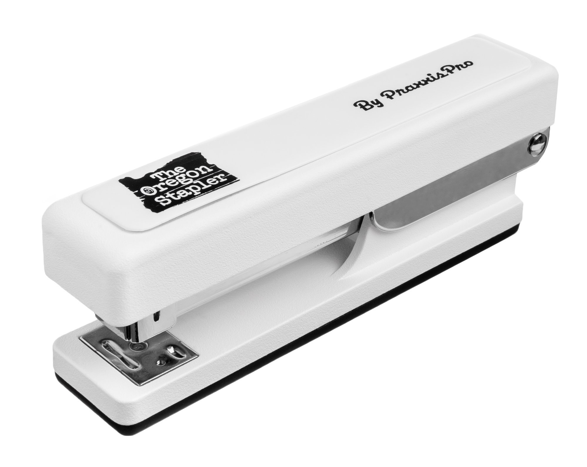 The Oregon Stapler - Heavy Duty, Stapler Built in USA - Perfect for Home or Office Space - Staples 2 to 25 Sheets, Includes Box of Staples- By PraxxisPro (White)