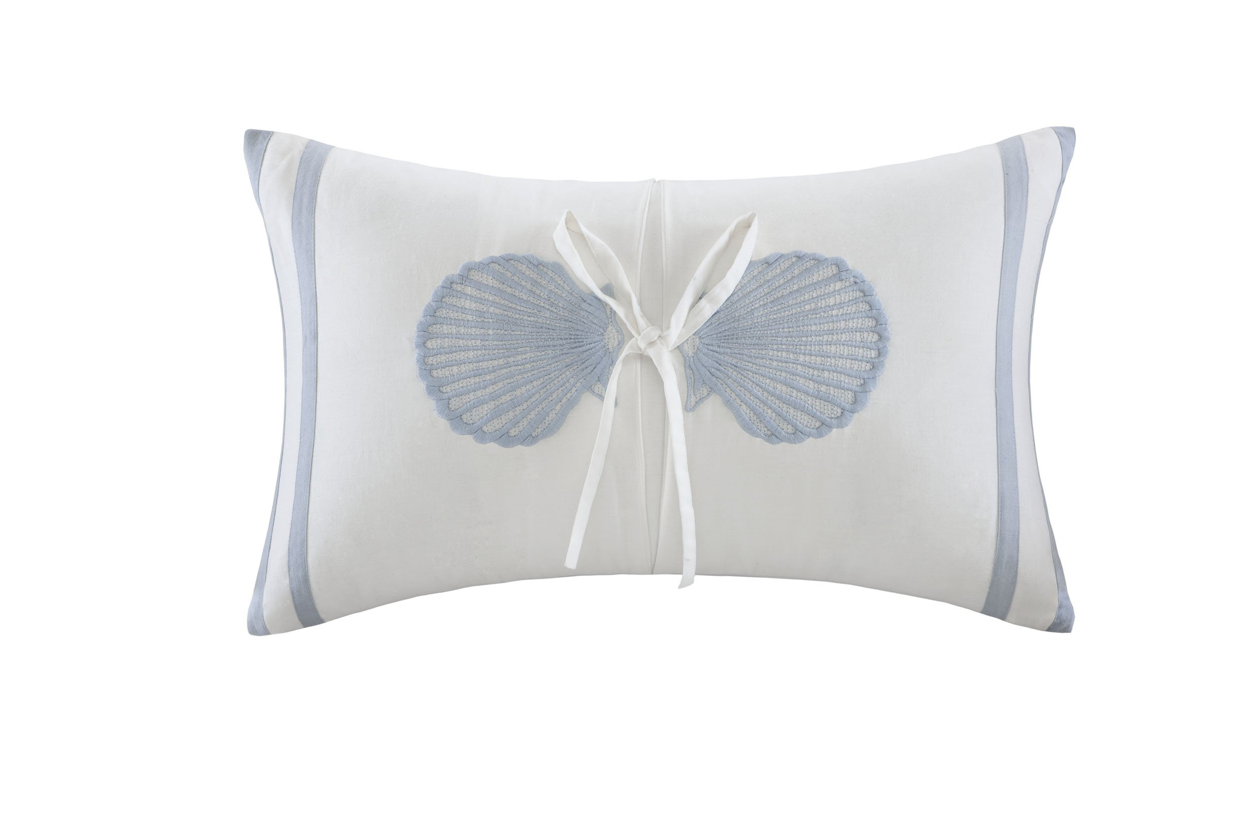 Harbor House Crystal Beach Embroidered Fashion Cotton Throw Pillow, Coastal Theme Oblong Decorative Pillow, 12X20, White - The oblong pillow in this set is white with two embroidered blue seashells in the center; this pillow is finished with a fabric tie around the center 100-percent cotton with shell motfi embroidery Measurements: 12 by 18-inch - living-room-soft-furnishings, living-room, decorative-pillows - 71KaiI33m5L -