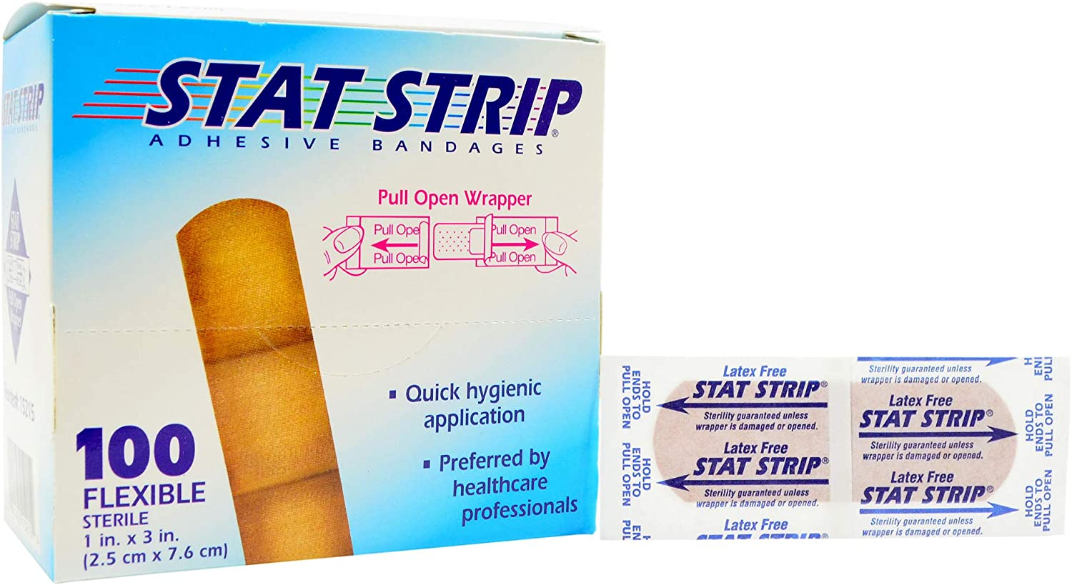 STAT Strip Adhesive Bandages 100 Flexible Latex Free 1x3 inch