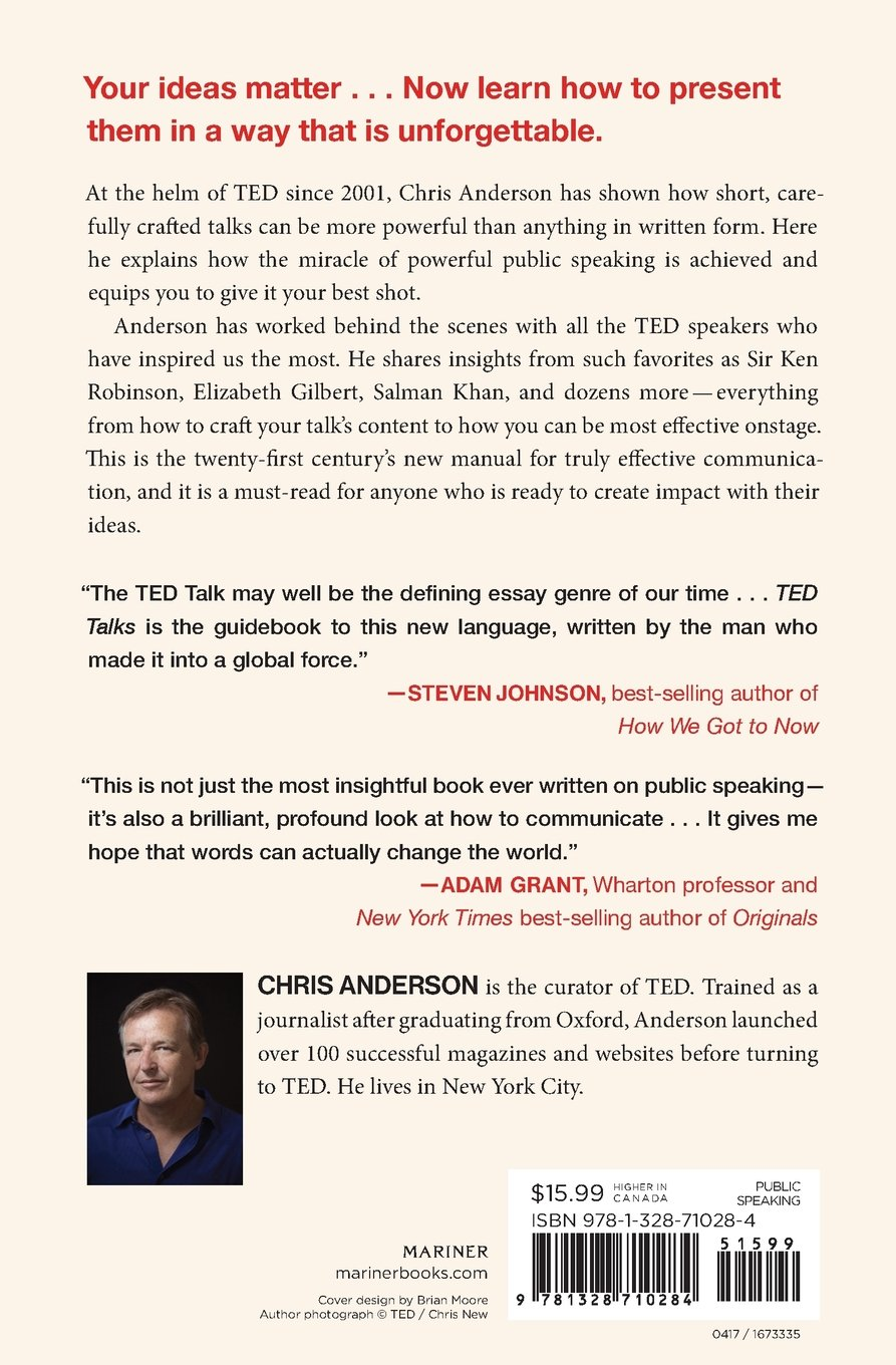 ted talks the official ted guide to public speaking chris  ted talks the official ted guide to public speaking chris anderson 9781328710284 com books