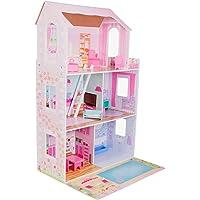boppi Puppenhaus aus Holz mit 15 Möbelstücken zum Spielen