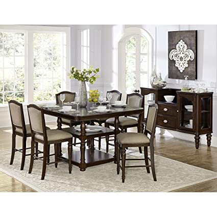 8 chair dining set square montello piece 54 inch square counter height dining set in dark cherry table amazoncom