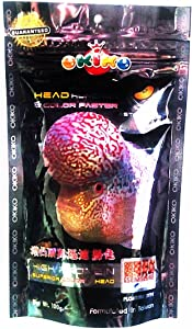 OKIKO 3.5 oz (100g) Platinum Head Huncher & Color Faster Floating Pellets with Astaxanthin Plus Flowerhorn Cichlid Fish Food