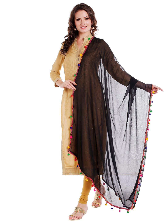 Dupatta Bazaar Woman's Black Chiffon Dupatta with Multicoloured Pompom
