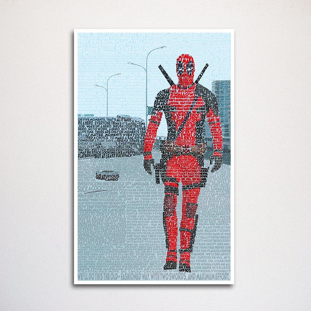 Deadpool Word Art Print 11x17 Unframed Typography Art Made From Quotes Wall Home Décor Superhero Art