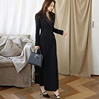 Autumn Winter Office Lady Women Long Trench Coat Notched Collar Black Maxi Coat Outwear Ztoyby (Color : Black, Size : L)