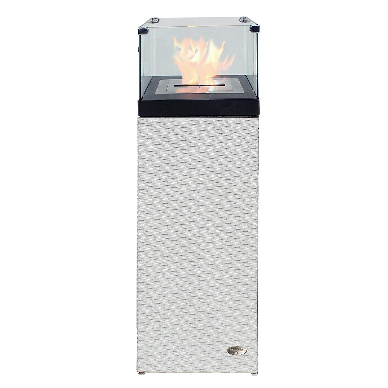 RS Trade Bio Ethanol Feuersäule Feuerschale Feuerstelle Feuerkorb Kamin Ofen für Garten und Terrasse aus Polyrattan passend zu Sonnenliege und Gartenmöbel Farbe Java Braun Unbekannt