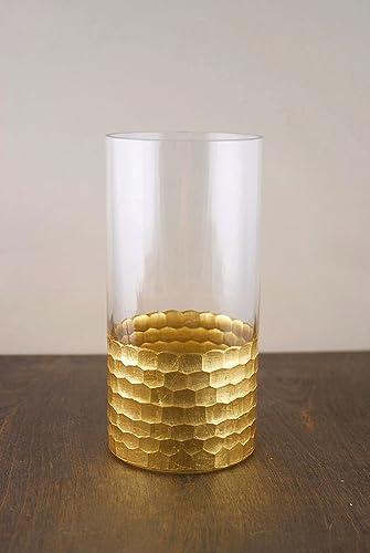 Richland Gold Honeycomb Cylinder Vase 8 x 4 Set of 6