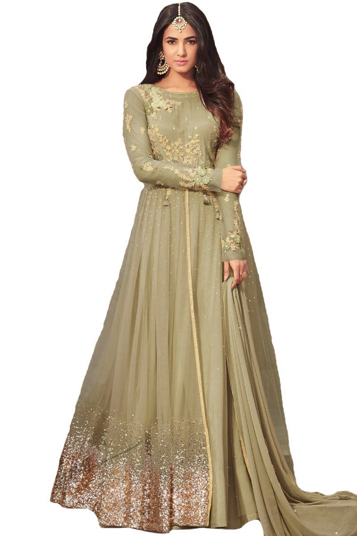 ab4f2a472a2 Galleon - Ziya Ready Made Net Latest Embroidered And With Beautiful  Anarkali Designer Salwar Kameez Maisha (Light Green