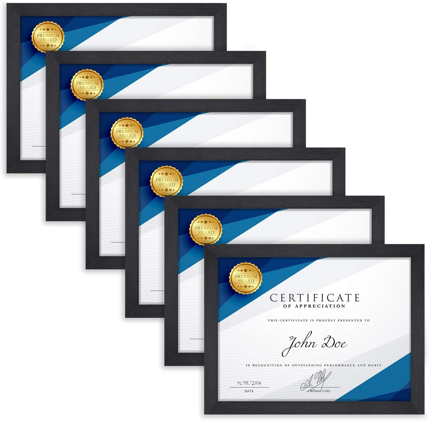Langdon House 8.5x11 Document Frame Set (6 Pack, Black), Fabulous Black 8.5 x 11 Certificate Frames, Swivel Tabs, Tabletop Easel and Wall Hang Hardware Included, Tranquility Collection